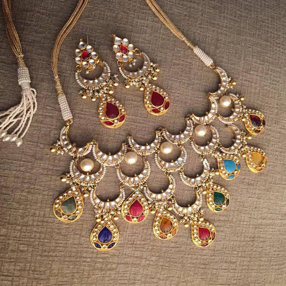 Indian Gold Plated Stones Kundan Necklace Earrings Party: Navratan Semi Precious Stone Kundan Set