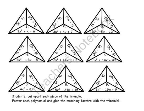 Factoring Polynomials Triangles from DawnMBrown on - triangular graph paper