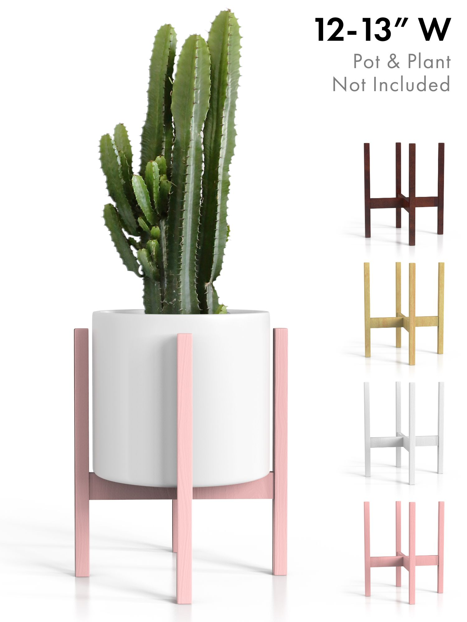 Plant Stand Mid Century Modern Tall Planter Holder Pink Rose Quartz Wood Pot Shelf For Indoor Outdoor 12 13 Pots Walmart Com In 2020 Planter Stand Indoor House Plants Indoor