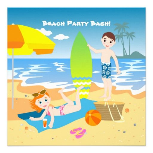 Kids enjoying the beach custom announcement  #Birthdayparty, #kids, #invitations