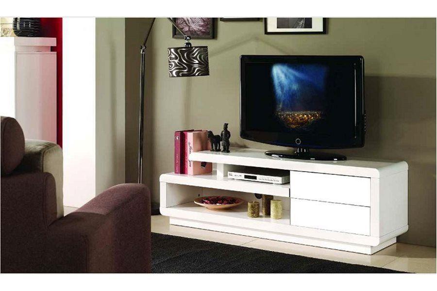 meuble tv - Meuble Tv Laque Blanc Hudson