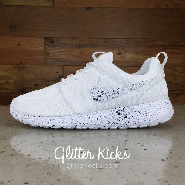 e86f3f785734 Nike Roshe One Customized by Glitter Kicks - WHITE   BLACK PAINT SPLATTER