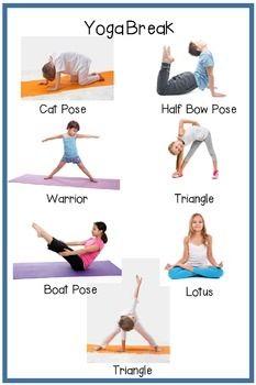 Yoga Break Posters: Preschool/Elementary School | Basic yoga poses ...