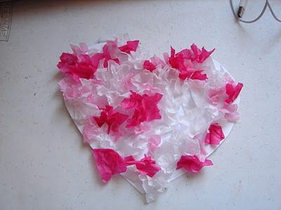 Valentine's Day Craft = Tissue Paper Heart