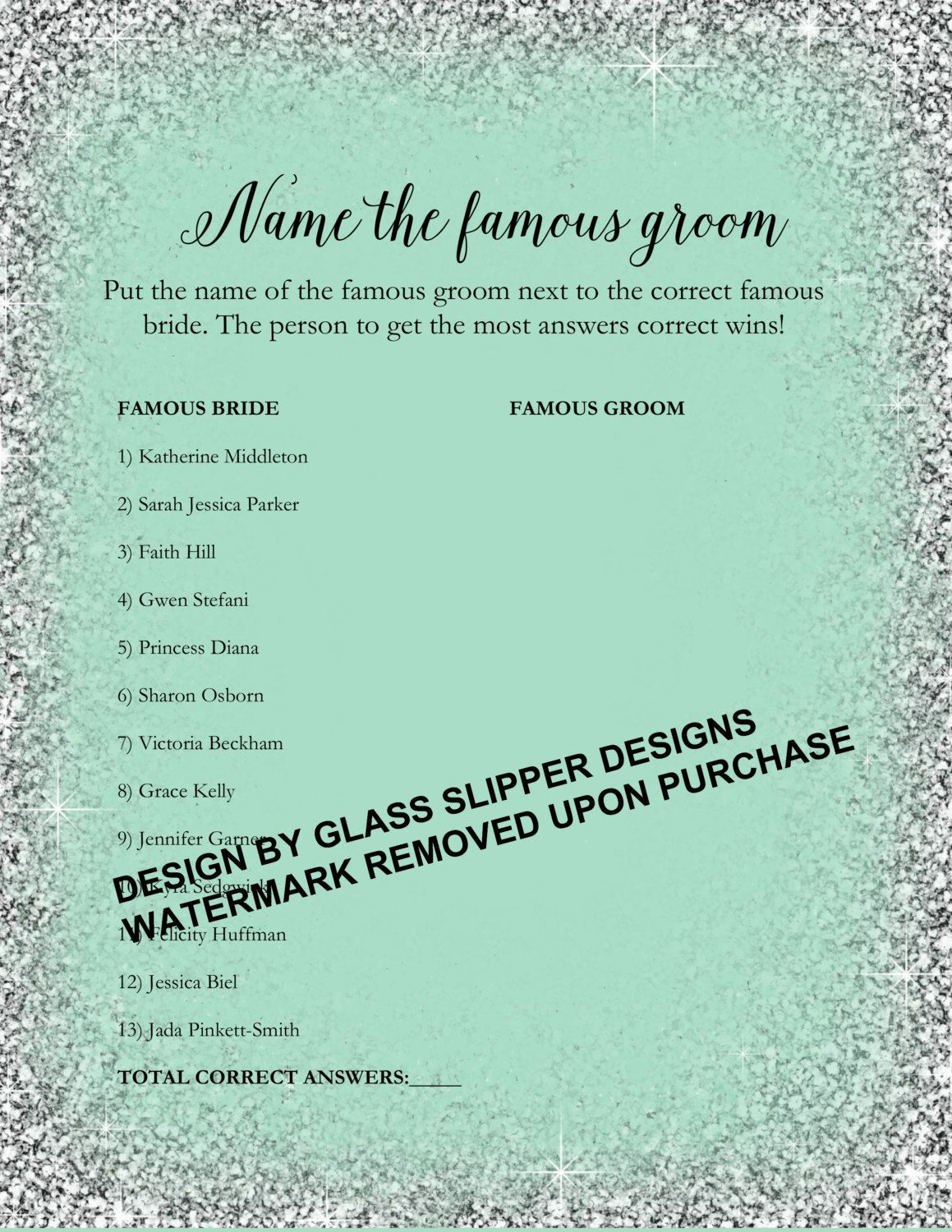 bridal shower game that doesnt suck printable whos the famous groomfamous celebrity couple bridal showerbachelorette game by glassslipperdesigns on