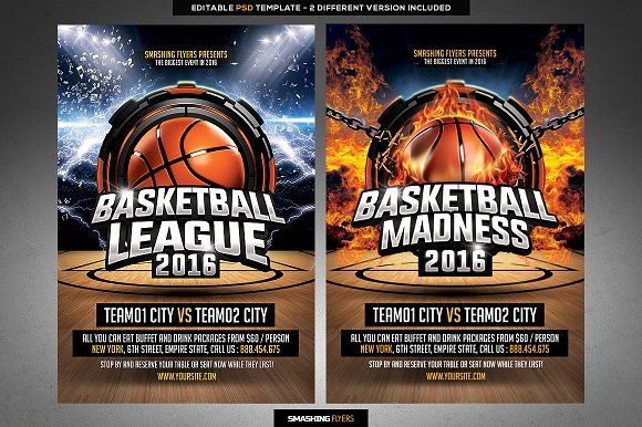 Basketball League Flyer Template By Smashing Flyers On @creativemarket