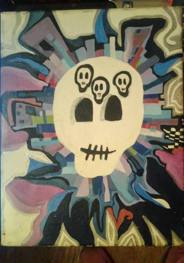 Lowbrow Outsider Art Original Oil Painting skull Cubism signed stretched canvas #LowbrowArtOutsiderArtPopSurrealism