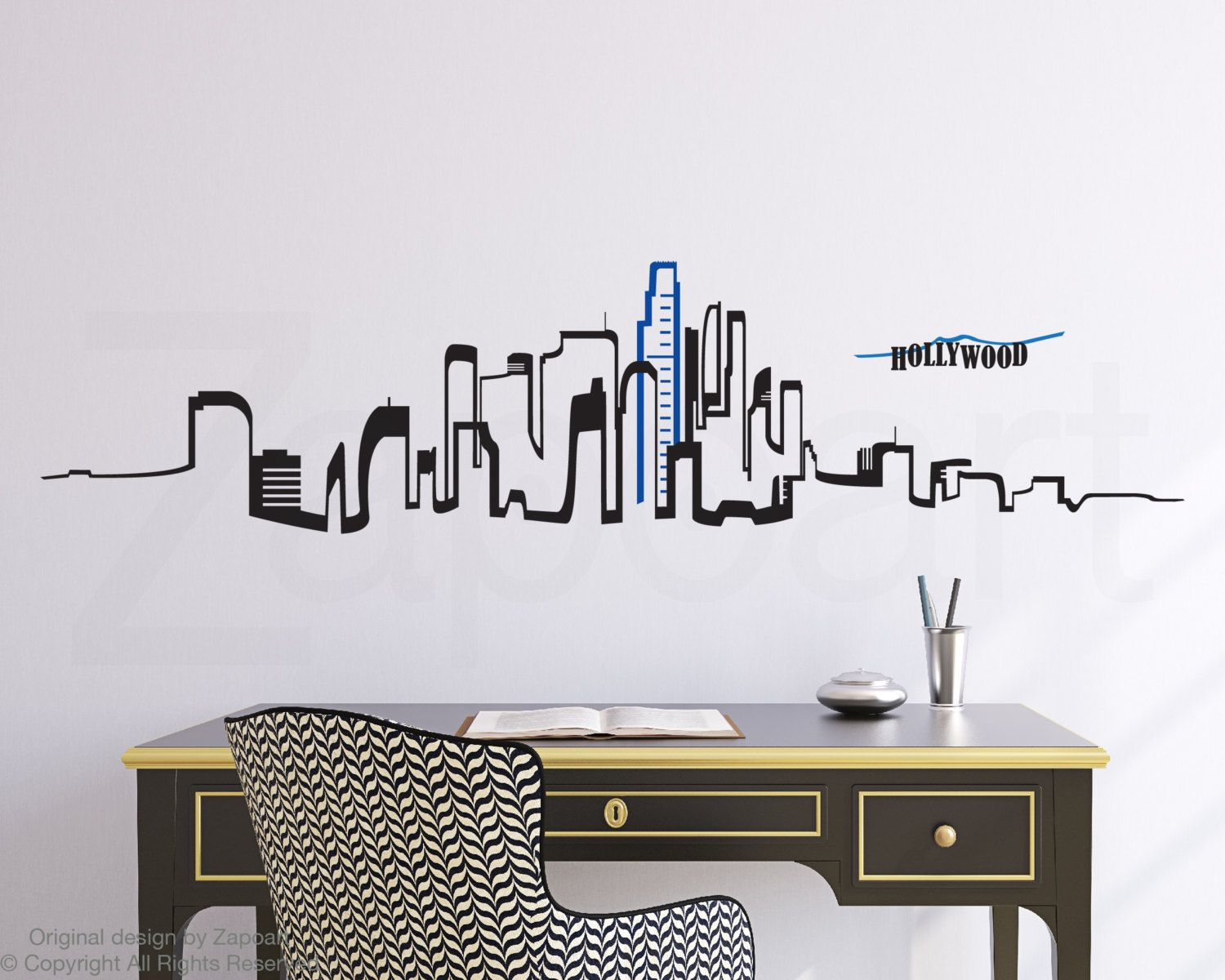Los Angeles Skyline Mur Vinyle Autocollant By Zapoart On Etsy Los Angeles Skyline Vinyl Wall Decals Skyline Tattoo