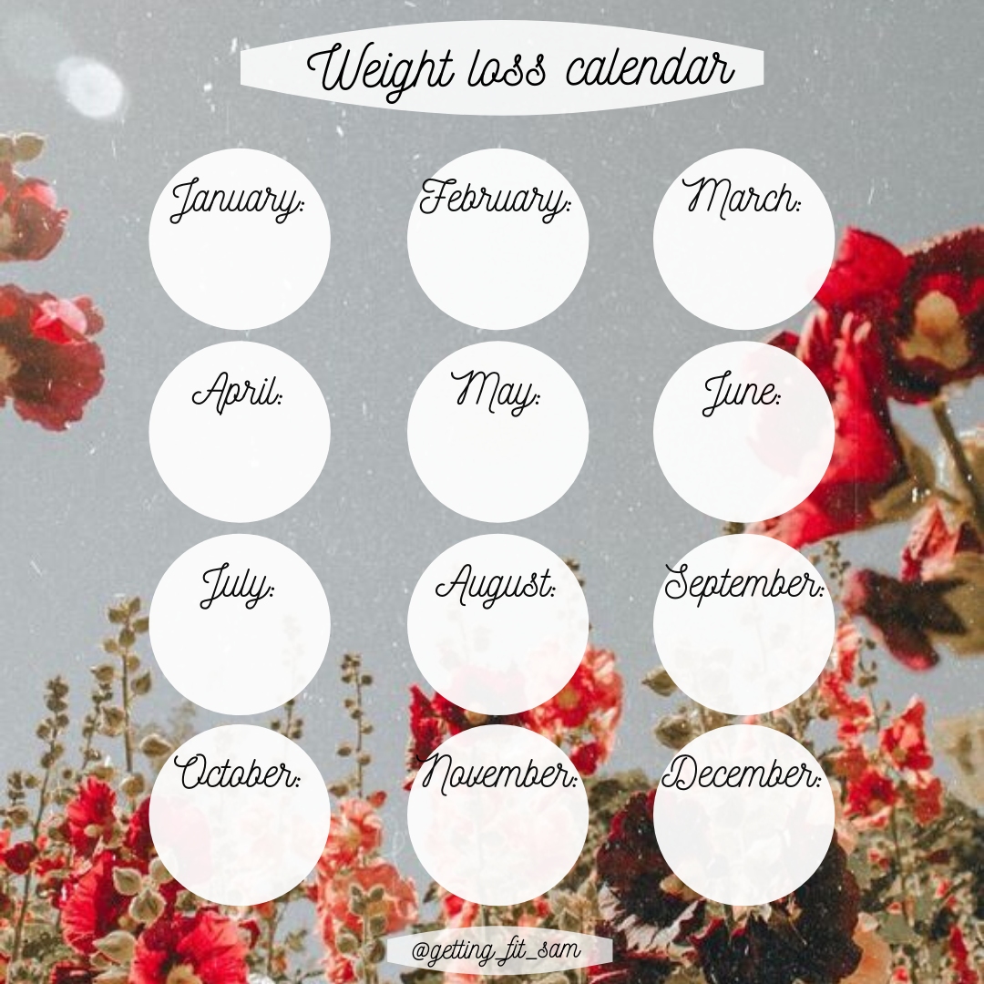 Weight Loss Calendar 2021 Pin on ~Square Yearly   Weight Loss Template Instagram~