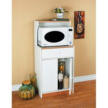 Microwave Cart With Drawer White