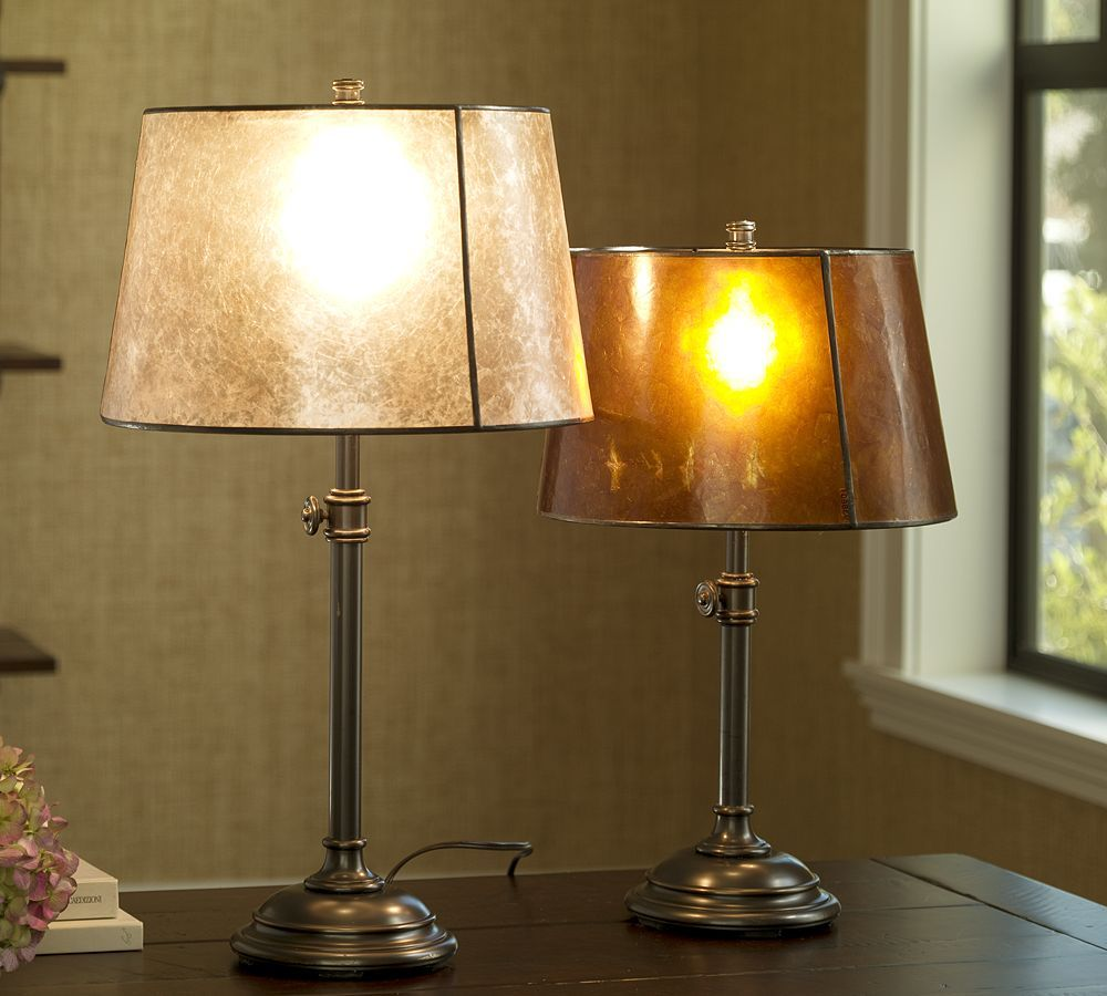 Chelsea bedside lamp base right with champagne mica tapered drum