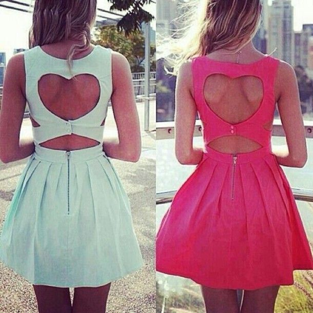 Skater dresses tumblr | ... dress short dress mint pink sleeveless dress skater dress heart cute