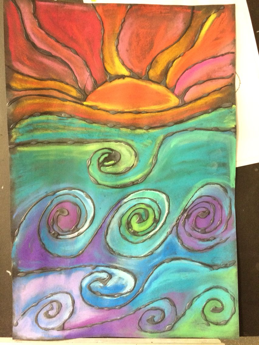 Warm and cool colors chalk pastel on black paper with glue lines ...