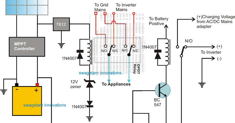 The Post Explains A Simple High Power 10kva Solar Grid Inverter Changeover Circuit Having An Internal Over Discharge Proetction Circuit Projects Circuit Grid