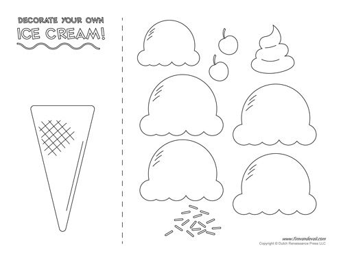 Ice Cream Templates And Coloring Pages For An Ice Cream Party Ice Cream Template Ice Cream Crafts Cone Template
