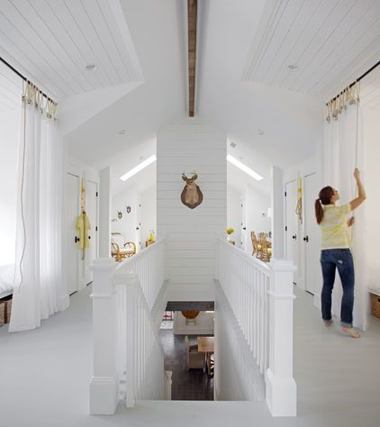 A Great Budget Trick For Carving Out Extra Sleeping Space Is Hanging Curtains They Give Each Guest Privacy But Maintain A F Sleeping Loft Remodel Bedroom Home