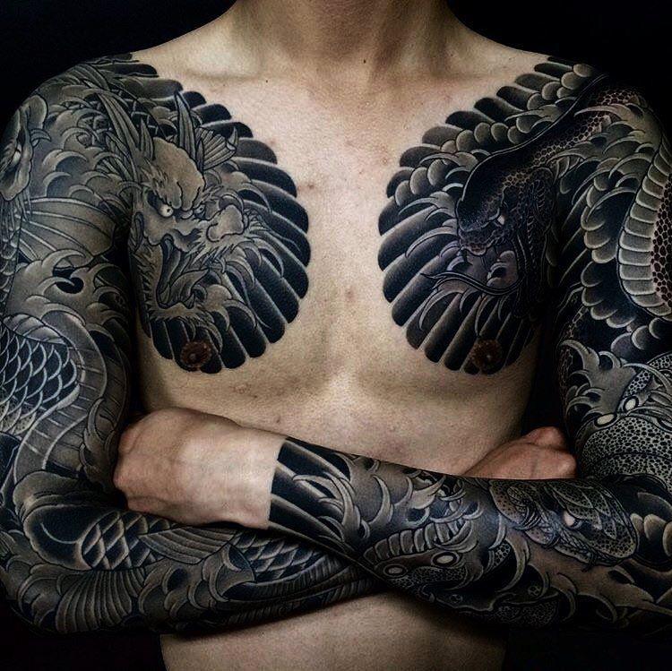 Japanese tattoo sleeves by horihide_david. Japanese