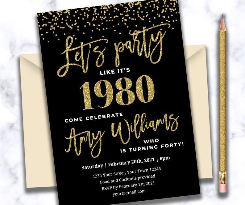40th birthday invitation black and gold Birthday