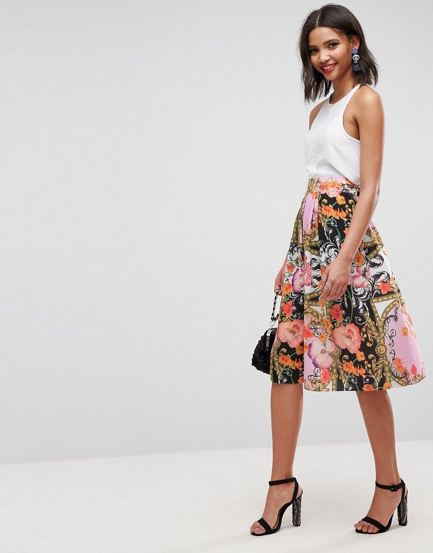 eeb97c18f3 Midi skirt in baroque floral print | Gorgeous dresses and Event ...