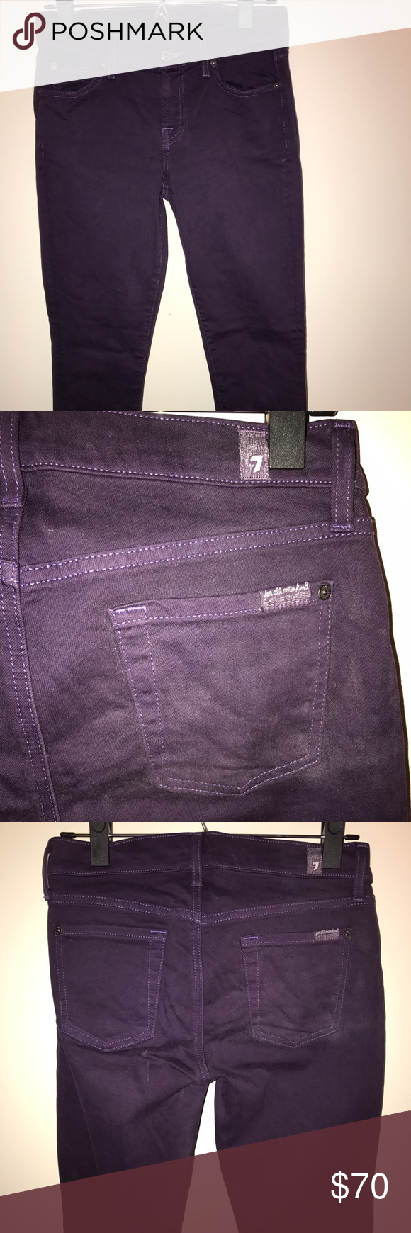"""7 For All Mankind """"The Skinny"""" in dark purple Size 7. Like new, only worn once. 7 For All Mankind Jeans Skinny"""