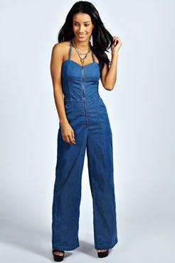 bd5f2f6279a Bianca Zip Front Wide Leg Bandeau Denim Jumpsuit at boohoo.com ...