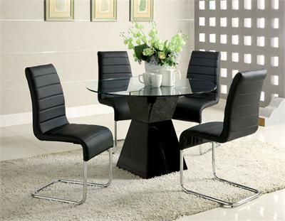 45 Lynelle Round Black Dining Table Set Glass Dining Room Table