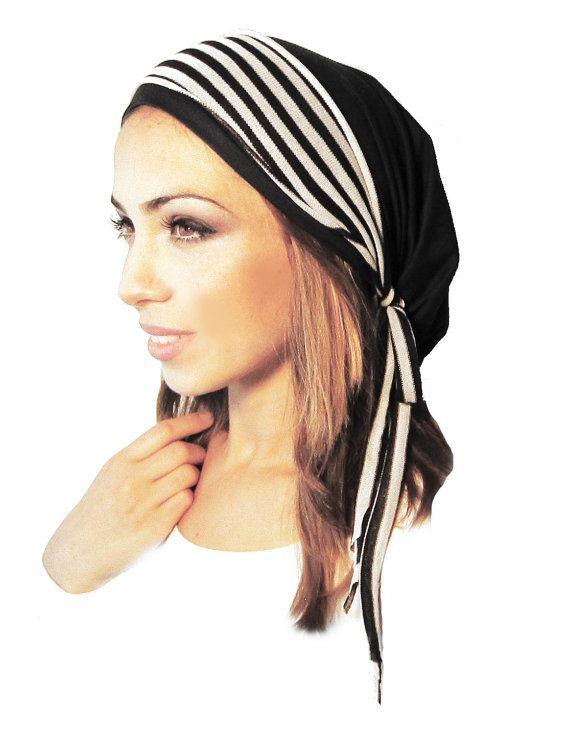Chemo Hat Chemo Cap Tichel Hair Snood Head Scarf Pre Tied Bandana Black Jersey Stripe Knit Wrap See Many More Hair Snood Head Scarf Chemo Head Scarf