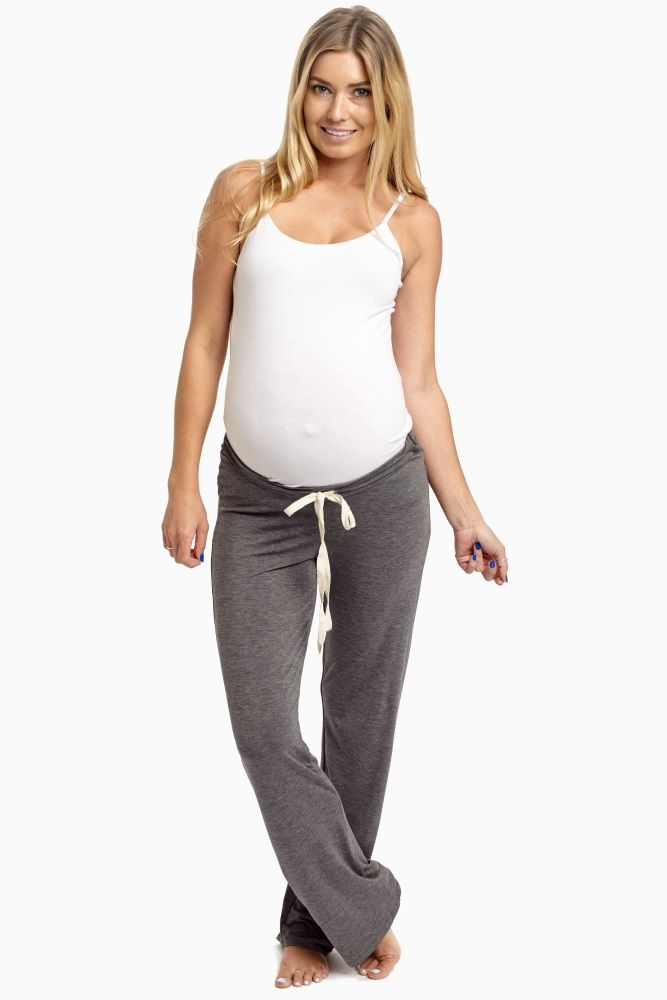 606fe743d4b56 Charcoal Drawstring Maternity Pajama Pants | PinkBlush Maternity ...
