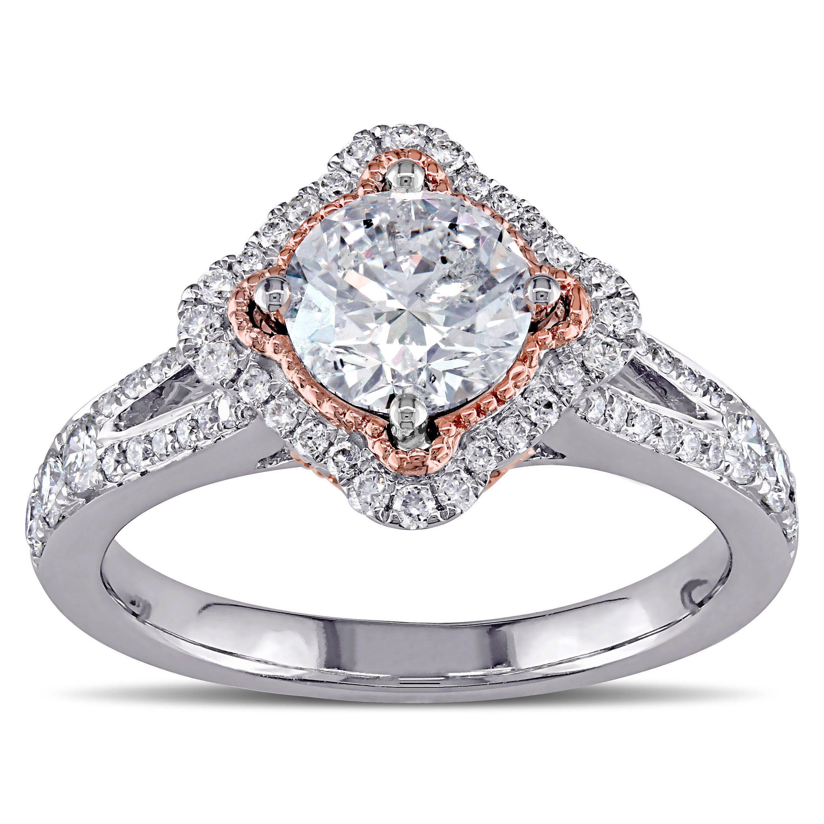 Miadora signature collection 14k white gold 1ct tdw diamond double row - Miadora 14k Two Tone Gold 1 1 2ct Tdw Diamond Engagement Ring E F