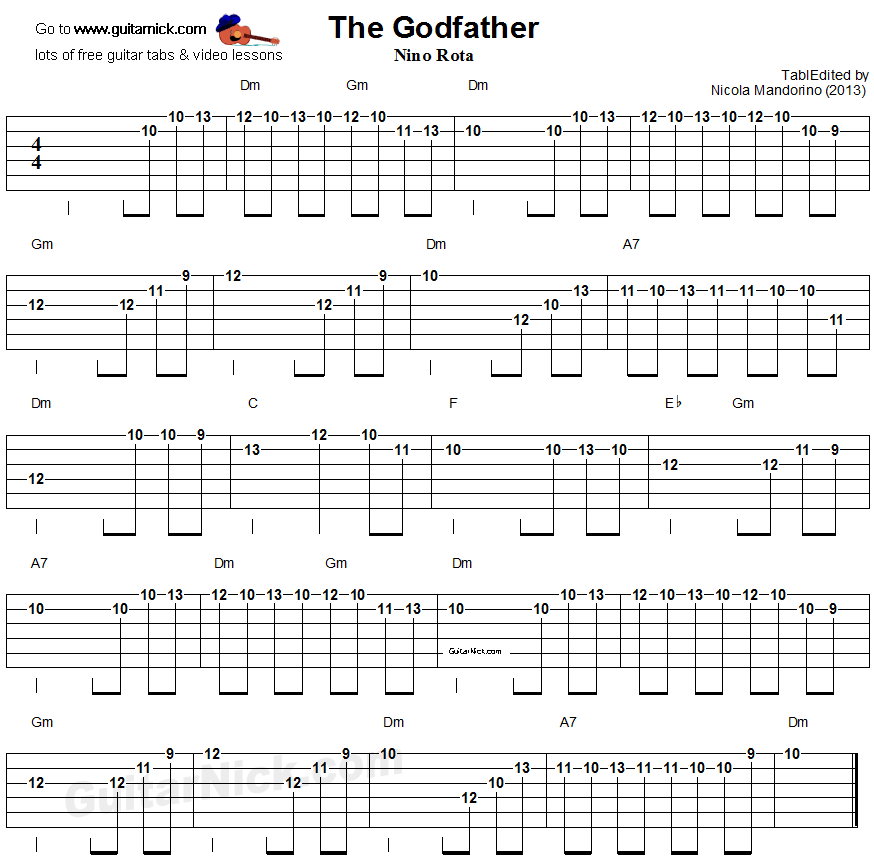 the godfather electric guitar tablature autumn winds over okinawa 1945 electric guitar. Black Bedroom Furniture Sets. Home Design Ideas