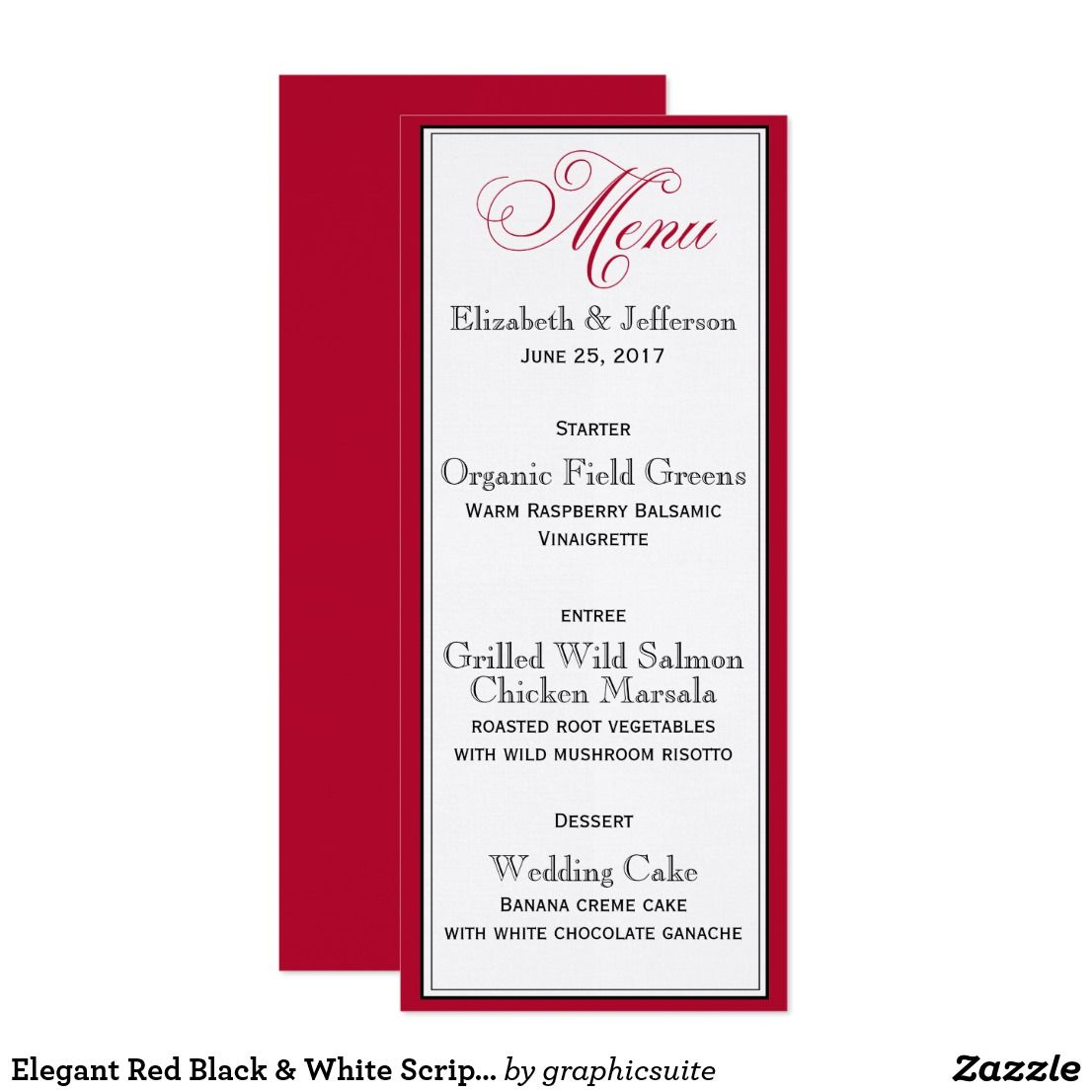 Elegant Red Black & White Script Wedding Menu Card | Wedding : Menu ...