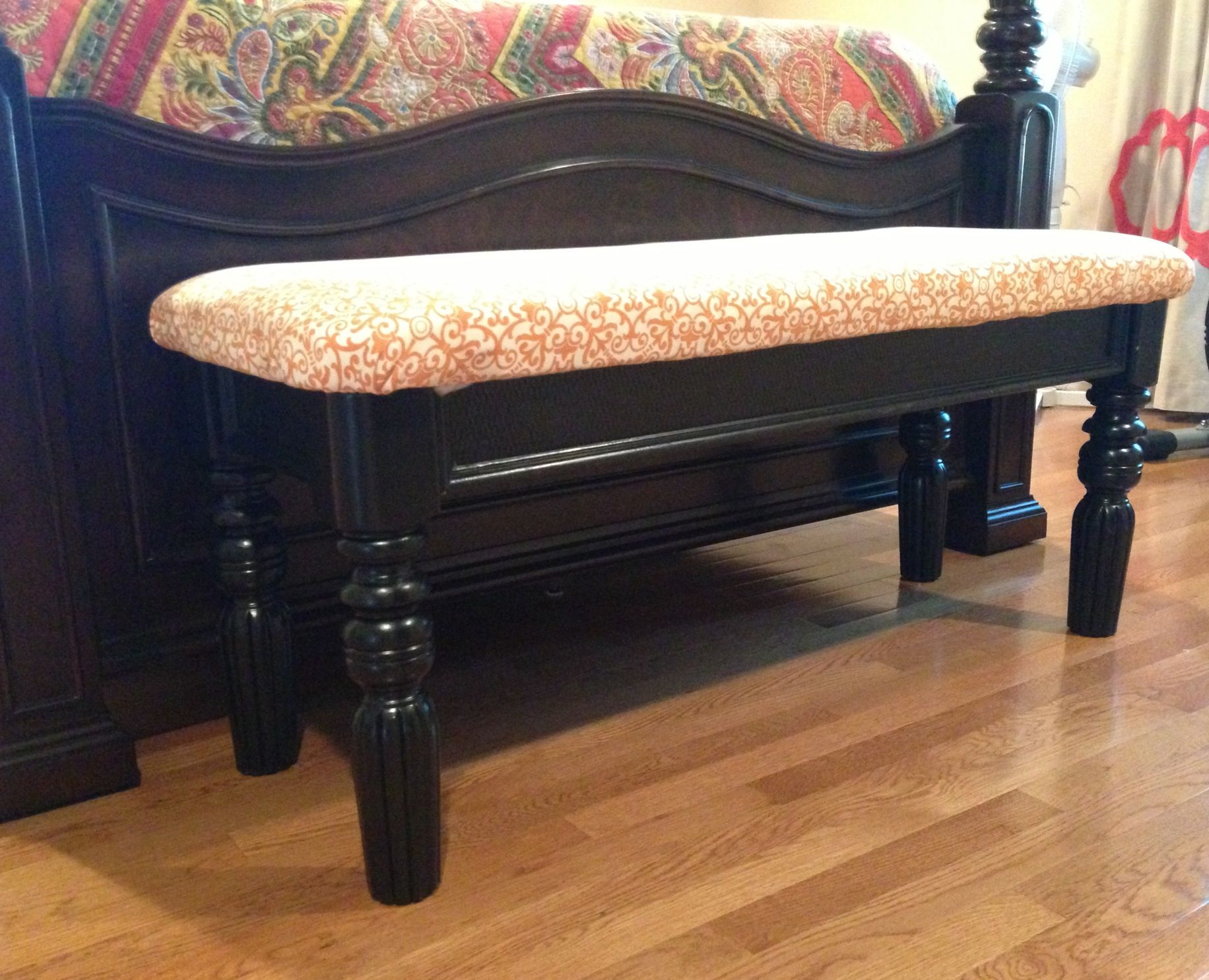 Sofa table repurposed as a end of bed bench love how it turned out