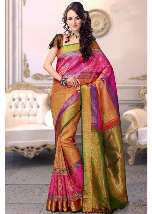 967494e57203e7 Multi-Colour Kanchipuram Silk Saree with Zari Work - SR2591 ...