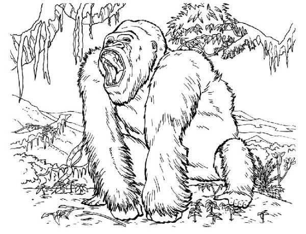 King Kong Open Mouth Coloring Pages