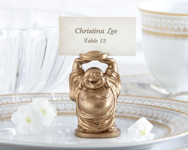 """Happy Buddha"" Golden Place Card Holder (Set of 4)"