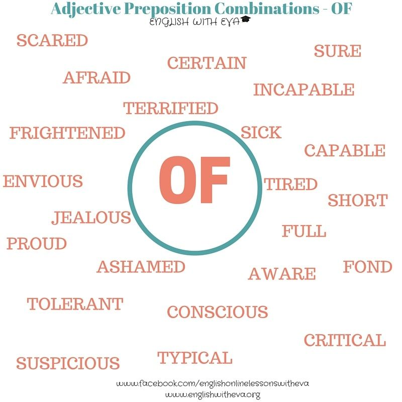 ESL, EFL, Teaching English, Adjective Preposition Combinations -OF, English with Eva