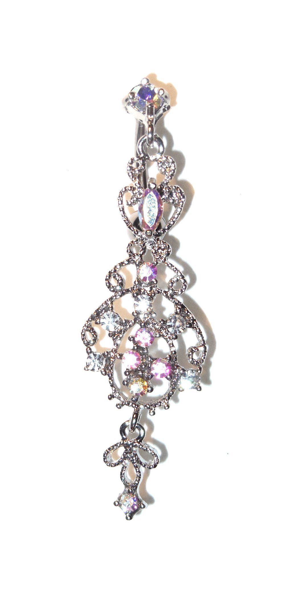 Amazon Com Victorian Style Chandelier Dangle Belly Navel Ring 14 Gauge 3 8 Reverse Top Down Hanging Style Victorian Fashion Navel Rings Piercing Ring