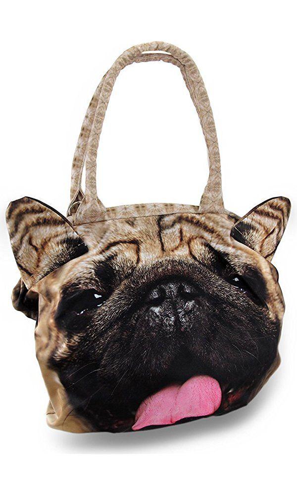 0342e1085ba Smug Pug Bag Realistic Printed Dog Face Shaped Handbag Best