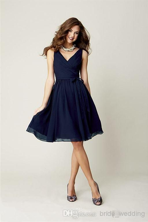 Wholesale Formal Gowns 2014 - Buy Dark Navy Kennedy Blue 28108 A Line V Neck Bridesmaid Dresses Short Knee Length Pleated Chiffon With Bow Ruffles Custom Made Prom Dresses, $71.28 | DHgate