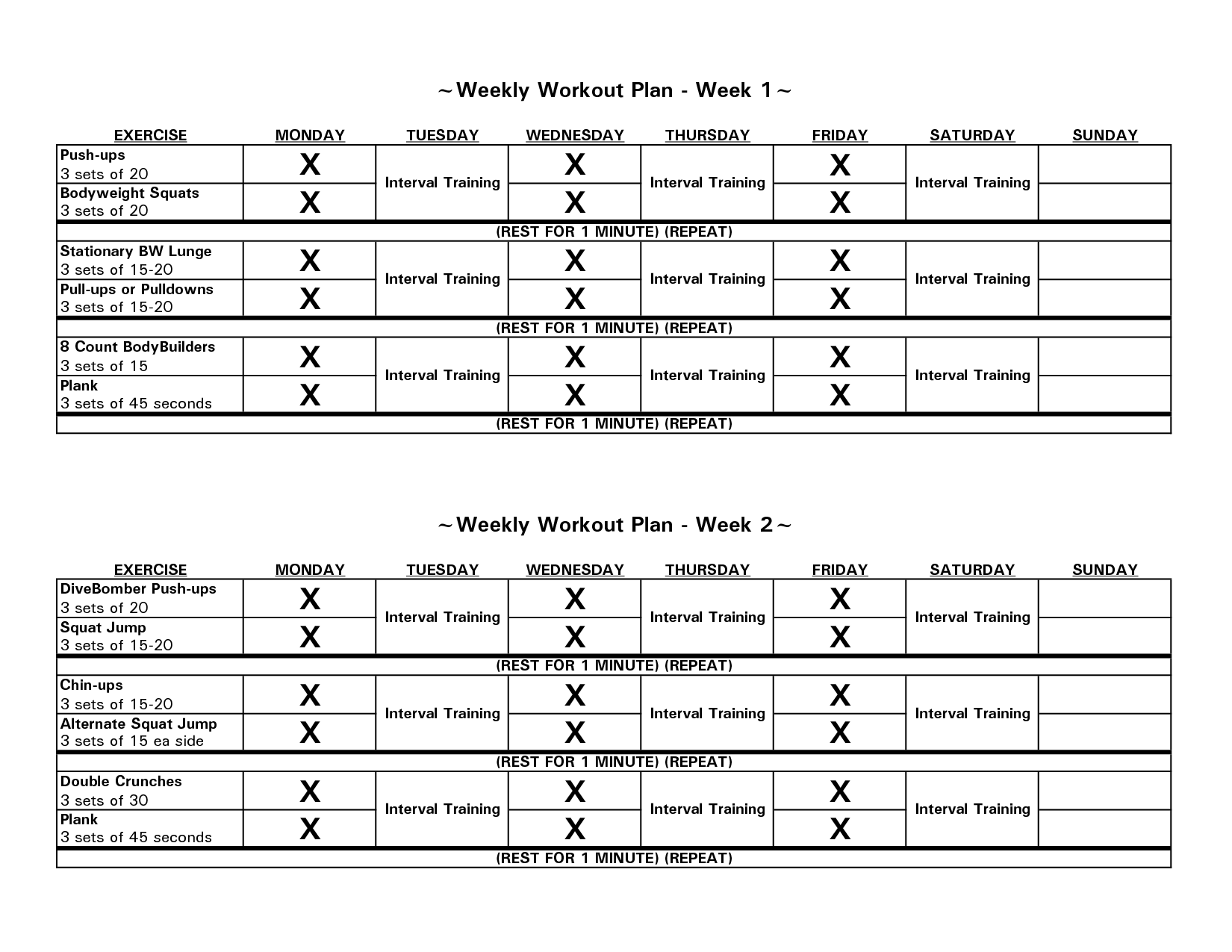 Weekly Workout Charts | Stuff to Buy | Pinterest | Beginner ...
