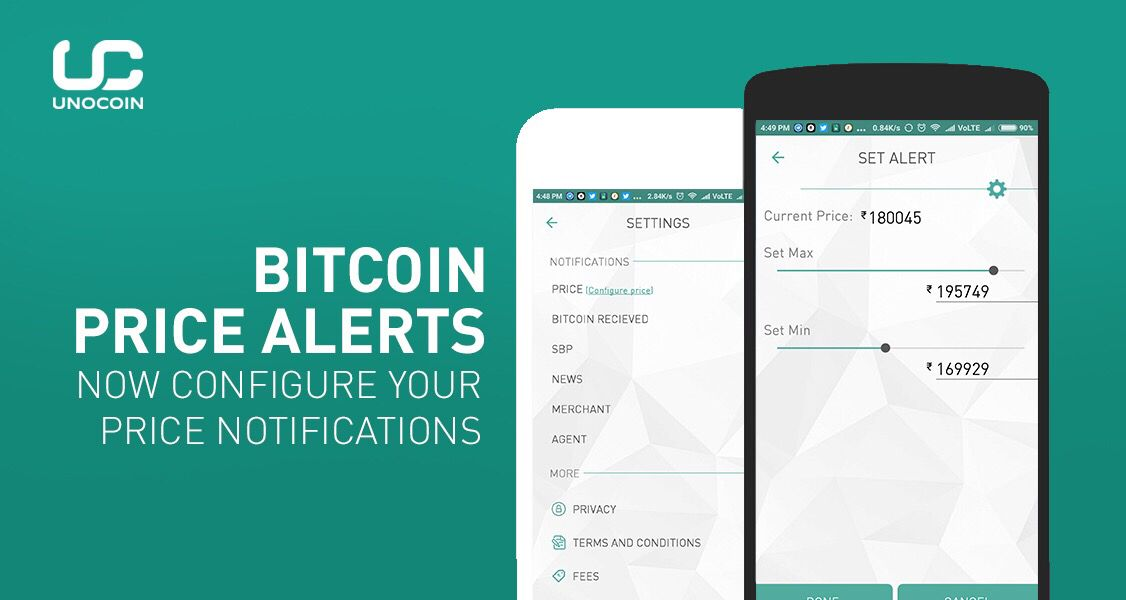 Now configure bitcoin price notifications with Unocoin's
