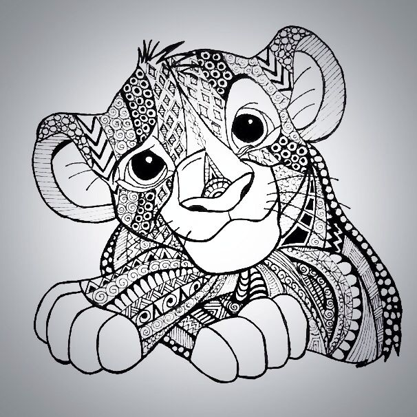 Simba Tangled By Inktalesart Dibujos Zentangle Mandalas