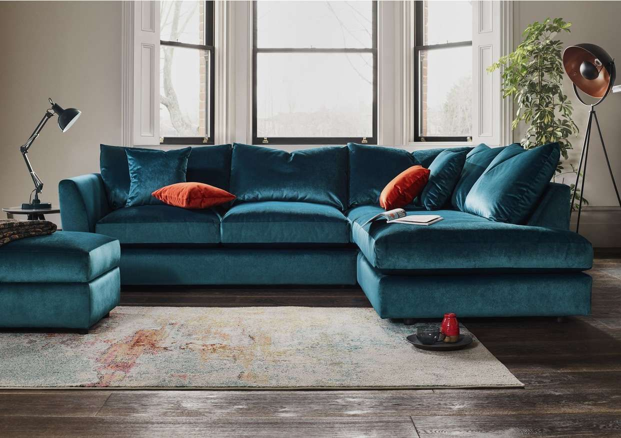 Icon Fabric Corner Sofa In 2020 Comfy Corner Sofa Corner Sofa Small Living Room Green Corner Sofas