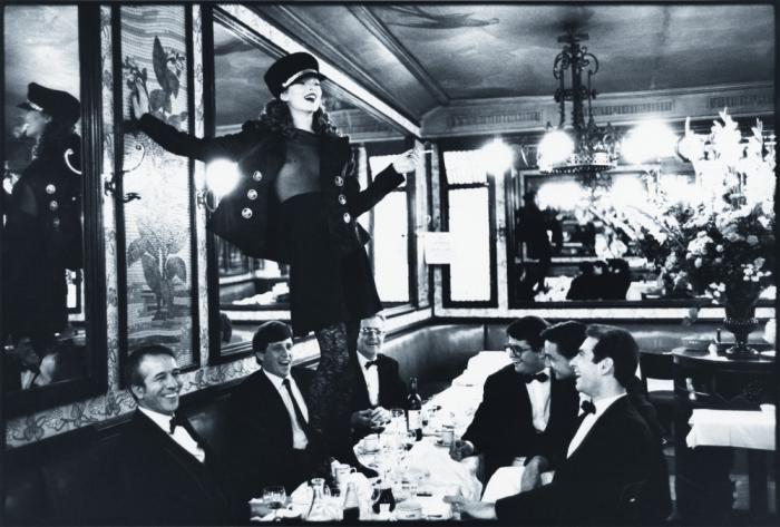 "by Arthur Elgort : ""Kate Moss at Café Lipp, Italian Vogue"", 1993"