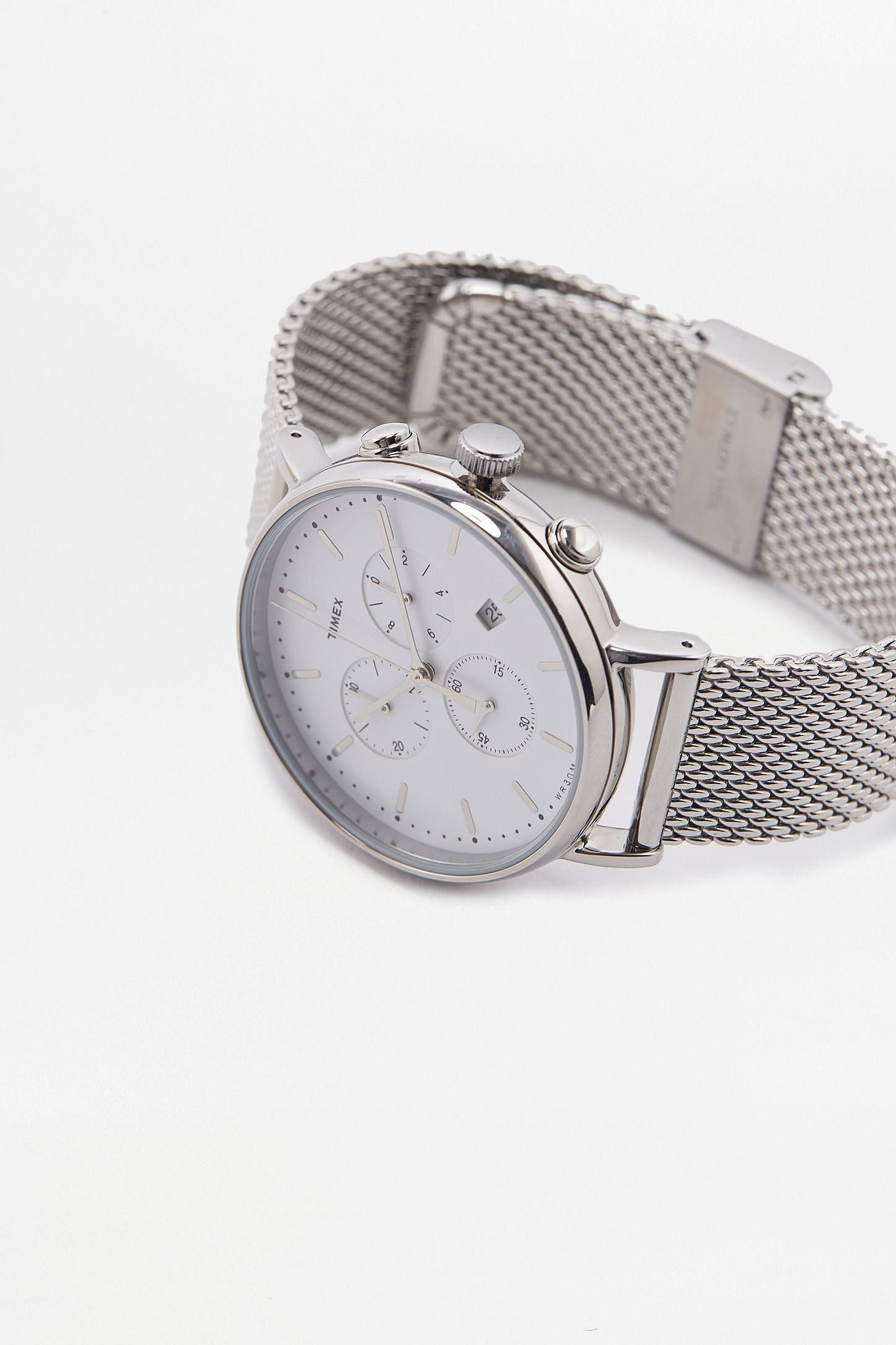 503605e25 Slide View: 3: Timex Fairfield Chronograph Silver Mesh Watch | Time ...