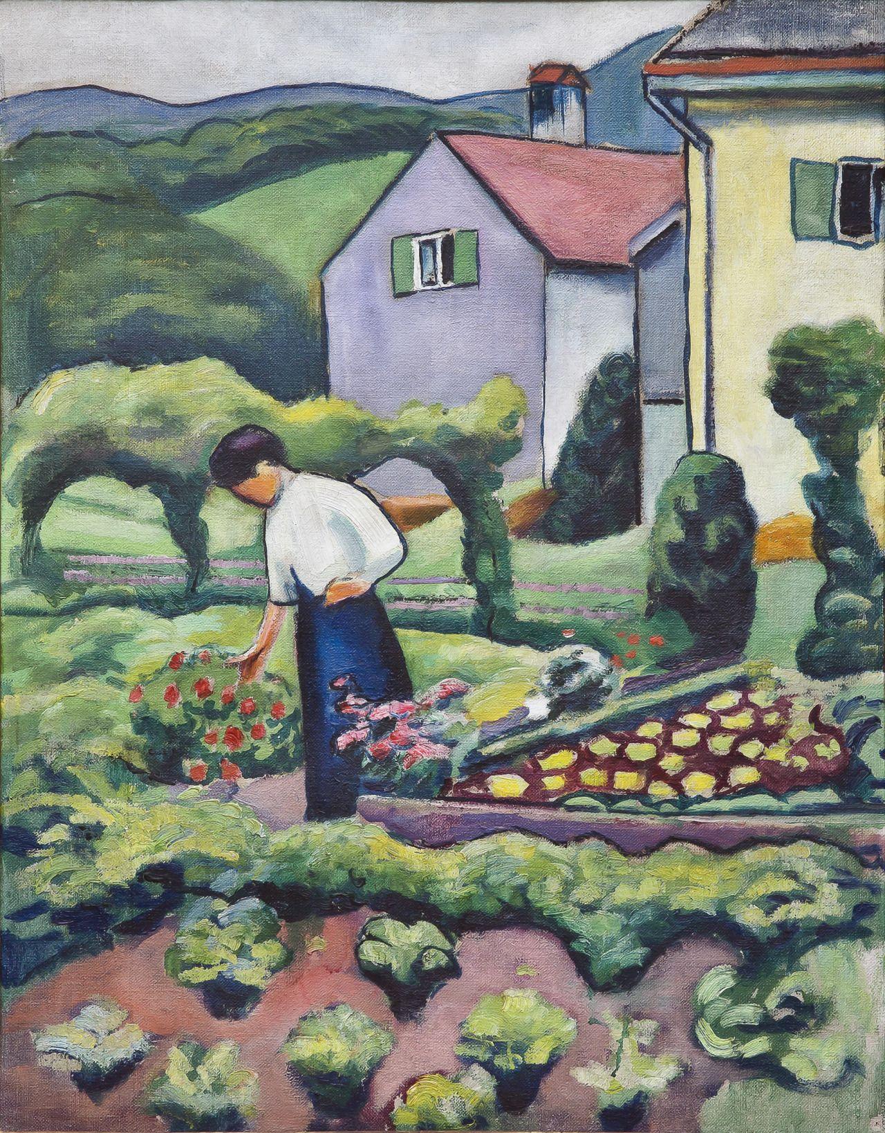 August Macke 1887 1914 German Painter Frau Im Garten Woman