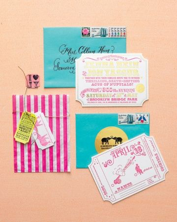 Ticket-Inspired Invitations  Circus-themed invitations are tied with metallic cord bearing ticket-stub-inspired notes for this couples carnival-themed wedding in Brooklyn.