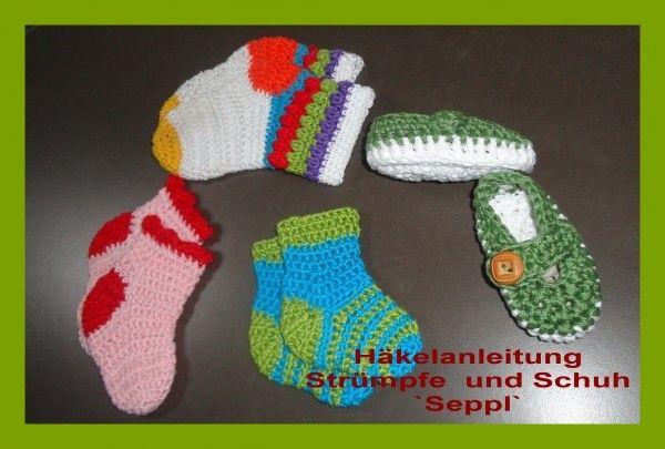 Häkelanleitung, Häkelstrümpfe und Schuhe `Seppl` | Häkeln ...