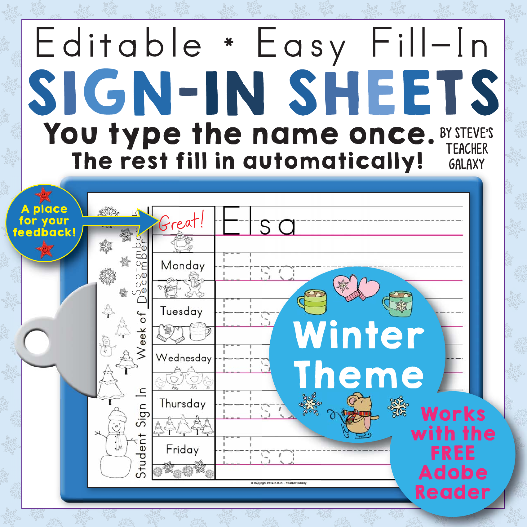 Editable Print Practice Weekly Sign In Sheets - Winter Theme