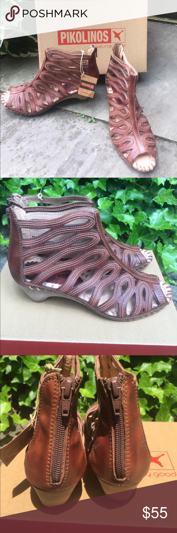 """NIB • PIKOLINOS SANDALS NIB • PIKOLINOS ANKLE HIGH SANDALS • SIZE 39 • BEAUTIFUL DESIGN • HEEL HEIGHT 2"""" • COMES WITH SPONGE • ZIPPERS IN BACK PIKOLINOS Shoes Sandals"""